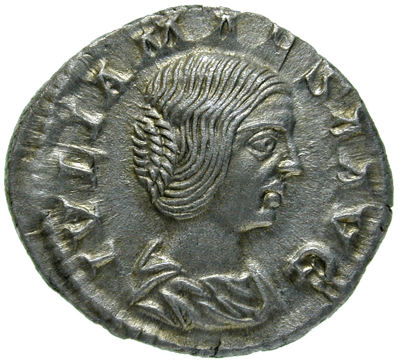 Roman Empire, Elagabalus for his Grandmother Julia Maesa, Denarius (obverse)