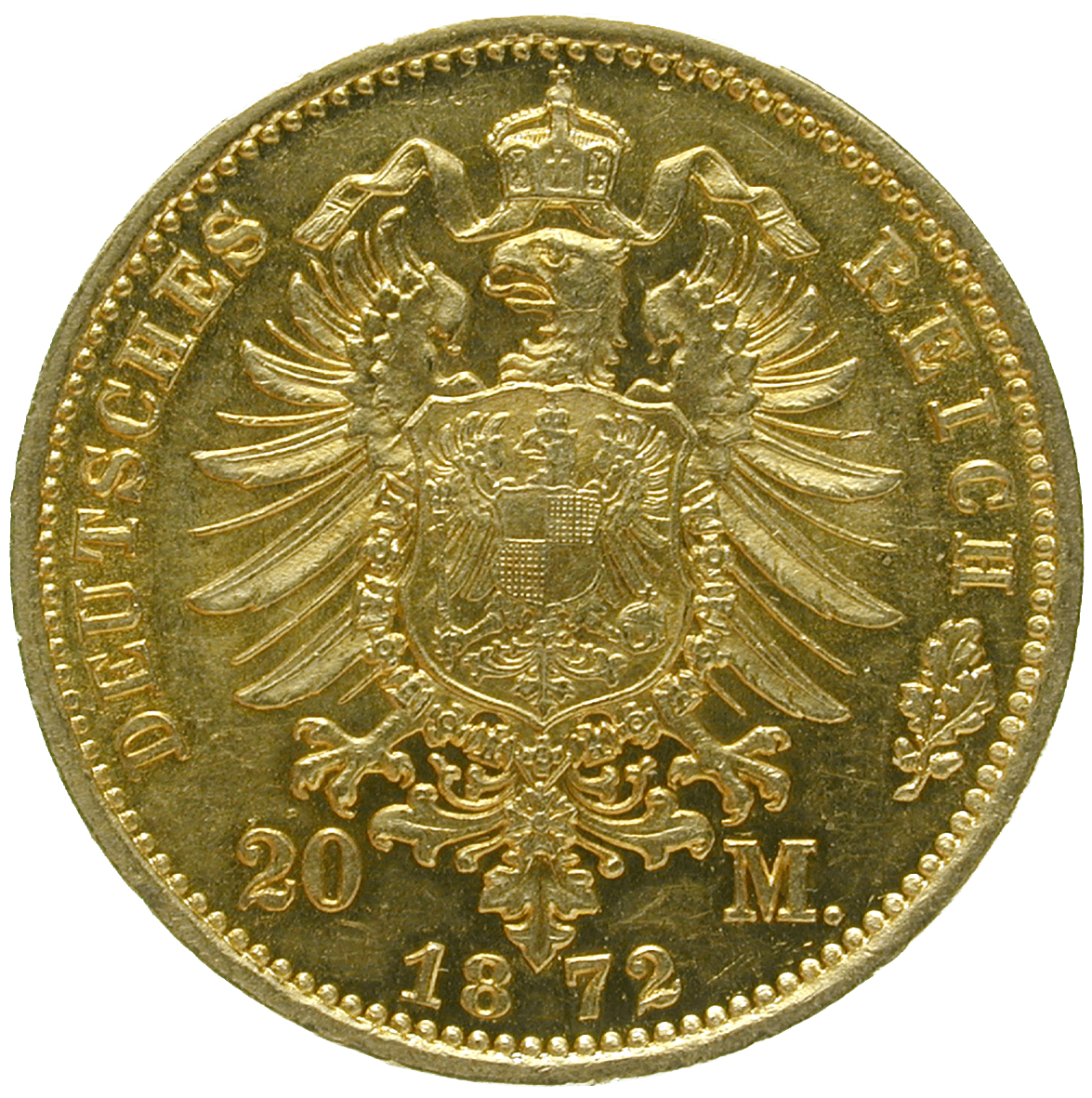 German Empire, Wilhelm I, 20 Mark 1872 (reverse)