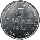 Deutsches Reich, Weimarer Republik, 3 Mark 1922 (obverse)