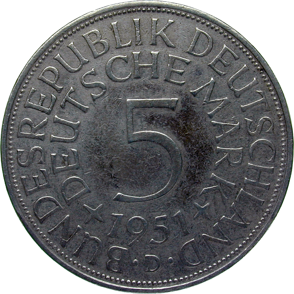 Federal Republic of Germany, 5 Deutsche Mark 1951 (obverse)