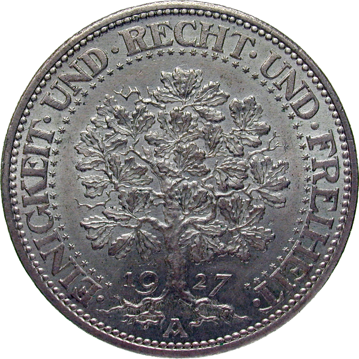 German Empire, Weimar Republic, 5 Reichsmark 1927 (reverse)