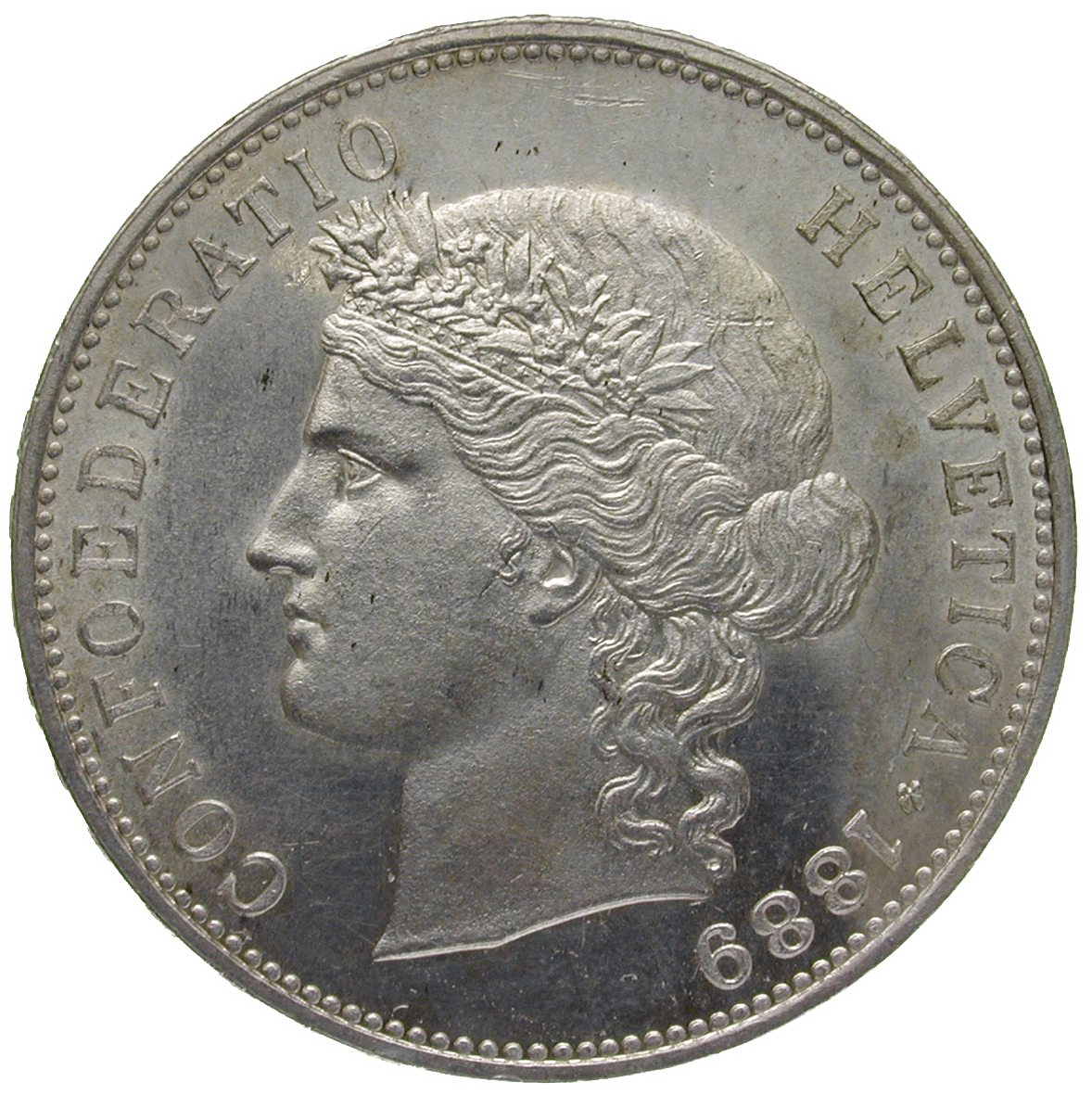 Swiss Confederation, 5 Franks 1889 (obverse)
