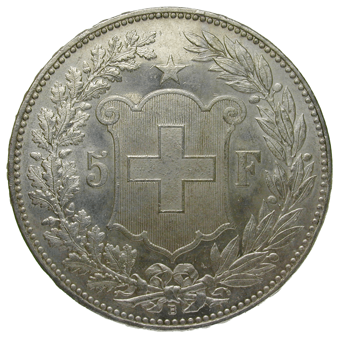Swiss Confederation, 5 Franks 1889 (reverse)