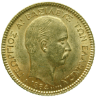 Kingdom of Greece, George I, 20 Drachms 1884, Paris (obverse)