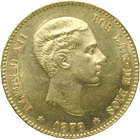 Kingdom of Spain, Alfonso XII, 25 Pesetas 1878 (obverse)