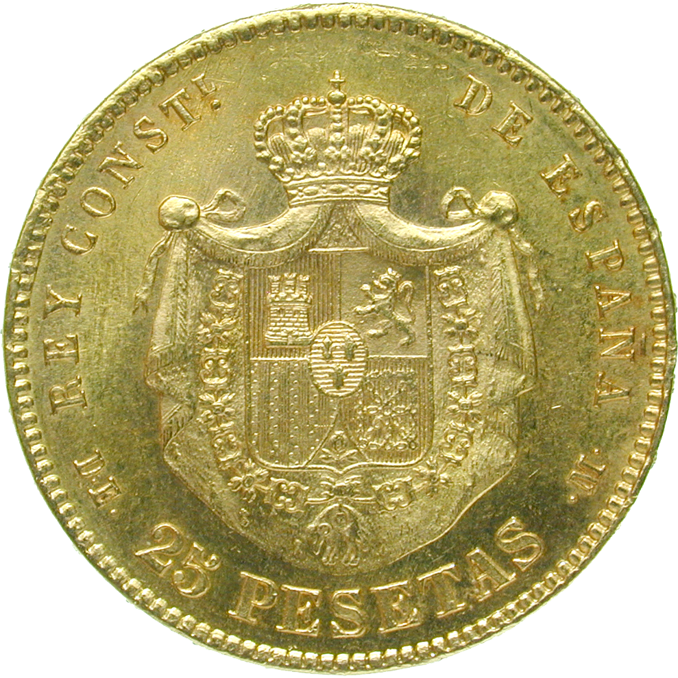 Kingdom of Spain, Alfonso XII, 25 Pesetas 1878 (reverse)