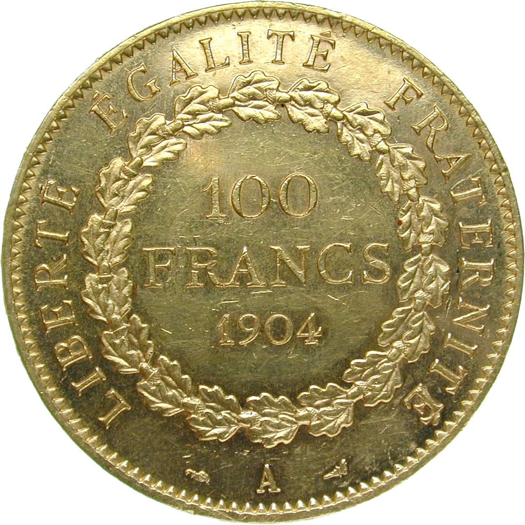 Republic of France, 100 Francs 1904 (reverse)