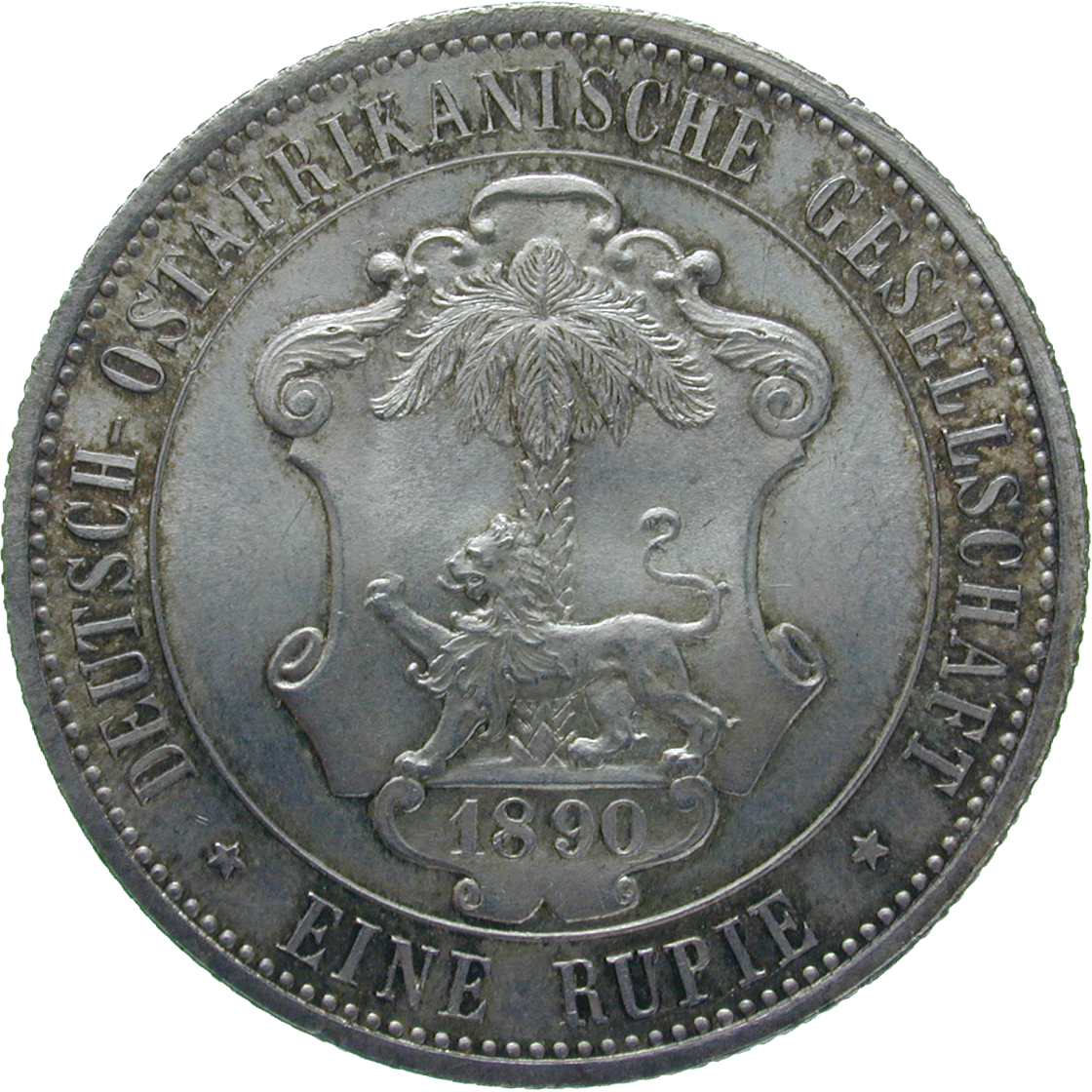 German Empire for German East Africa, Wilhelm II, 1 Rupee 1890 (reverse)