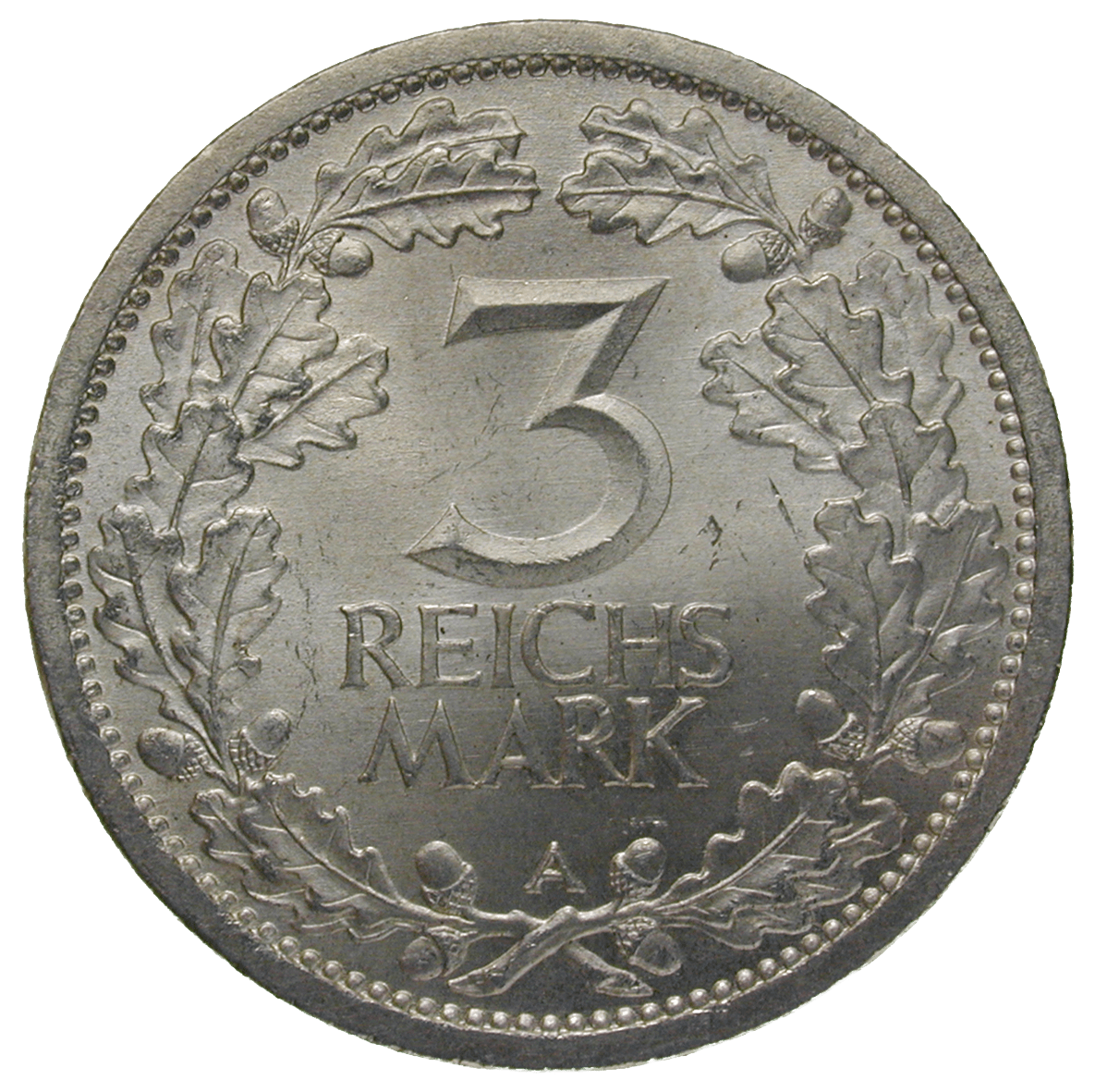 German Empire, Weimar Republic, 3 Reichsmark 1931 (reverse)