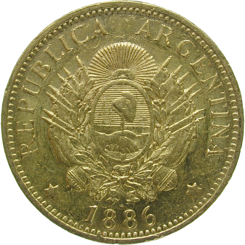 Republic of Argentina, 1 Argentino or 5 Pesos 1886 (reverse)