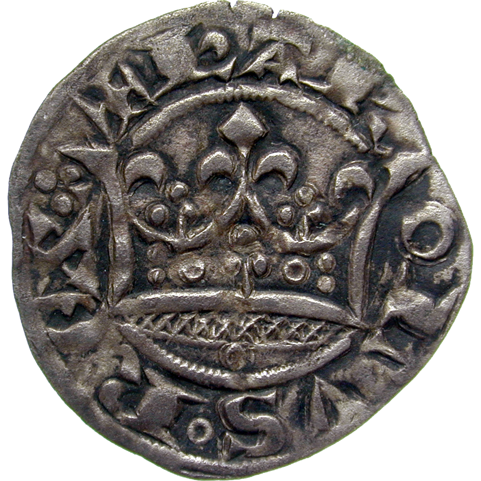 Kingdom of France, Charles IV the Fair, Double Parisis (obverse)