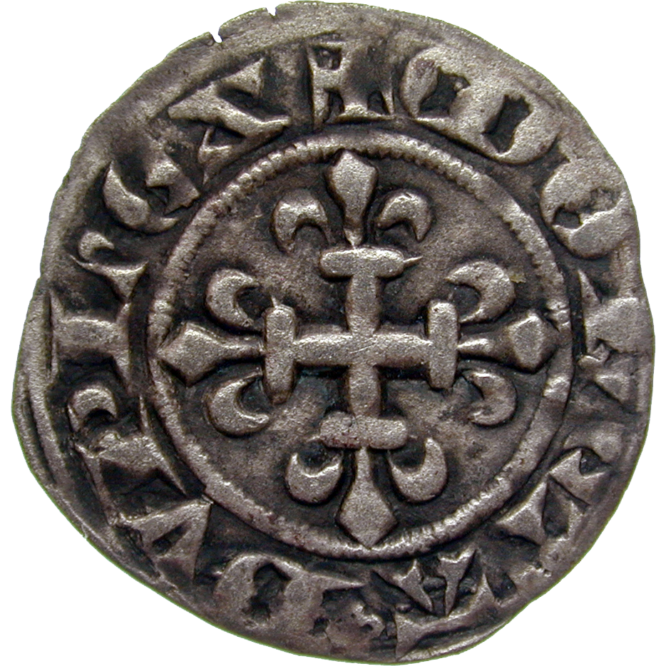 Kingdom of France, Charles IV the Fair, Double Parisis (reverse)