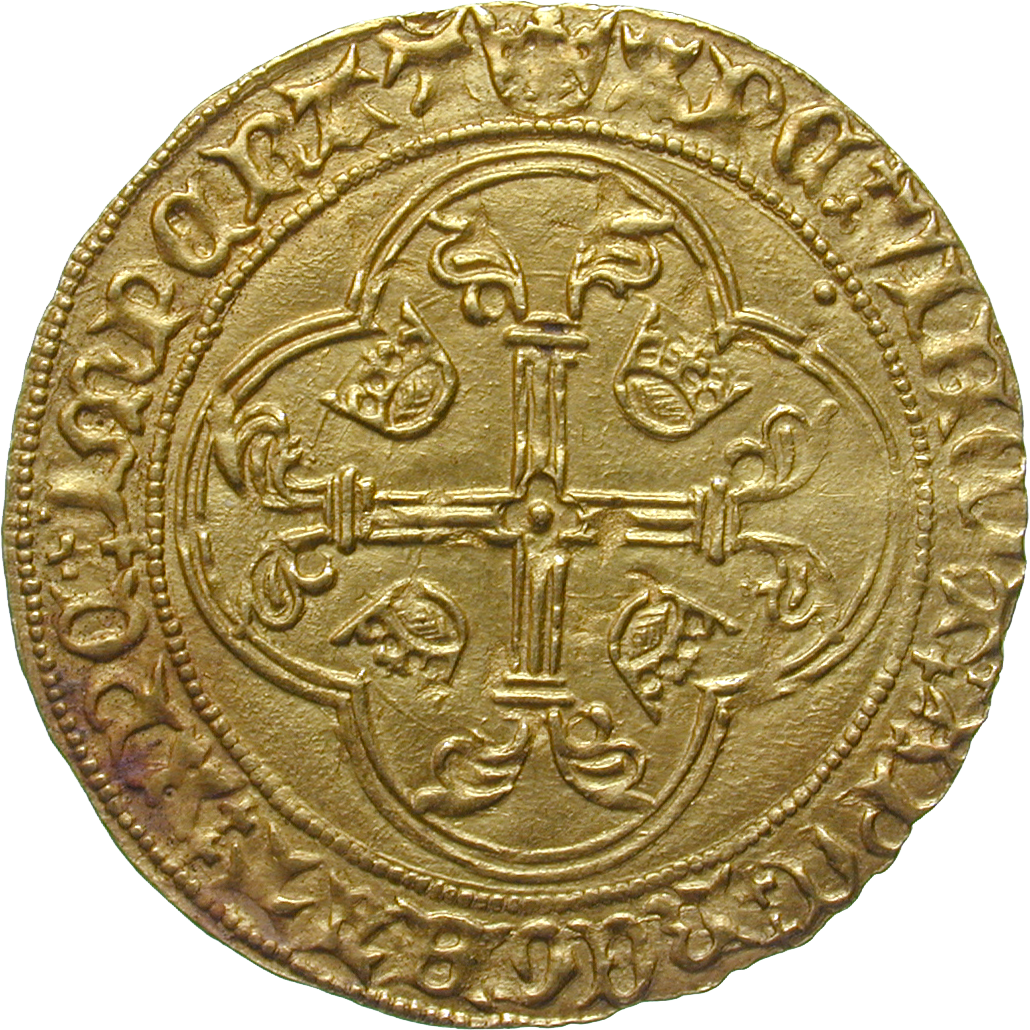Kingdom of France, Charles VII, Ecu de France (reverse)