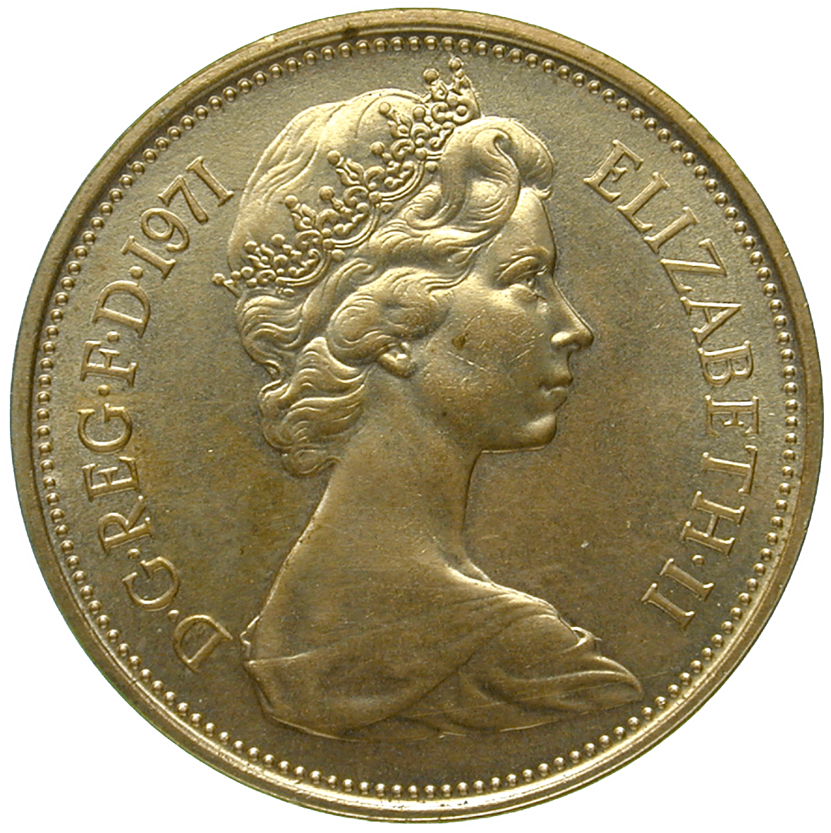 United Kingdom of Great Britain, Elizabeth II, 2 New Pence 1971 (obverse)