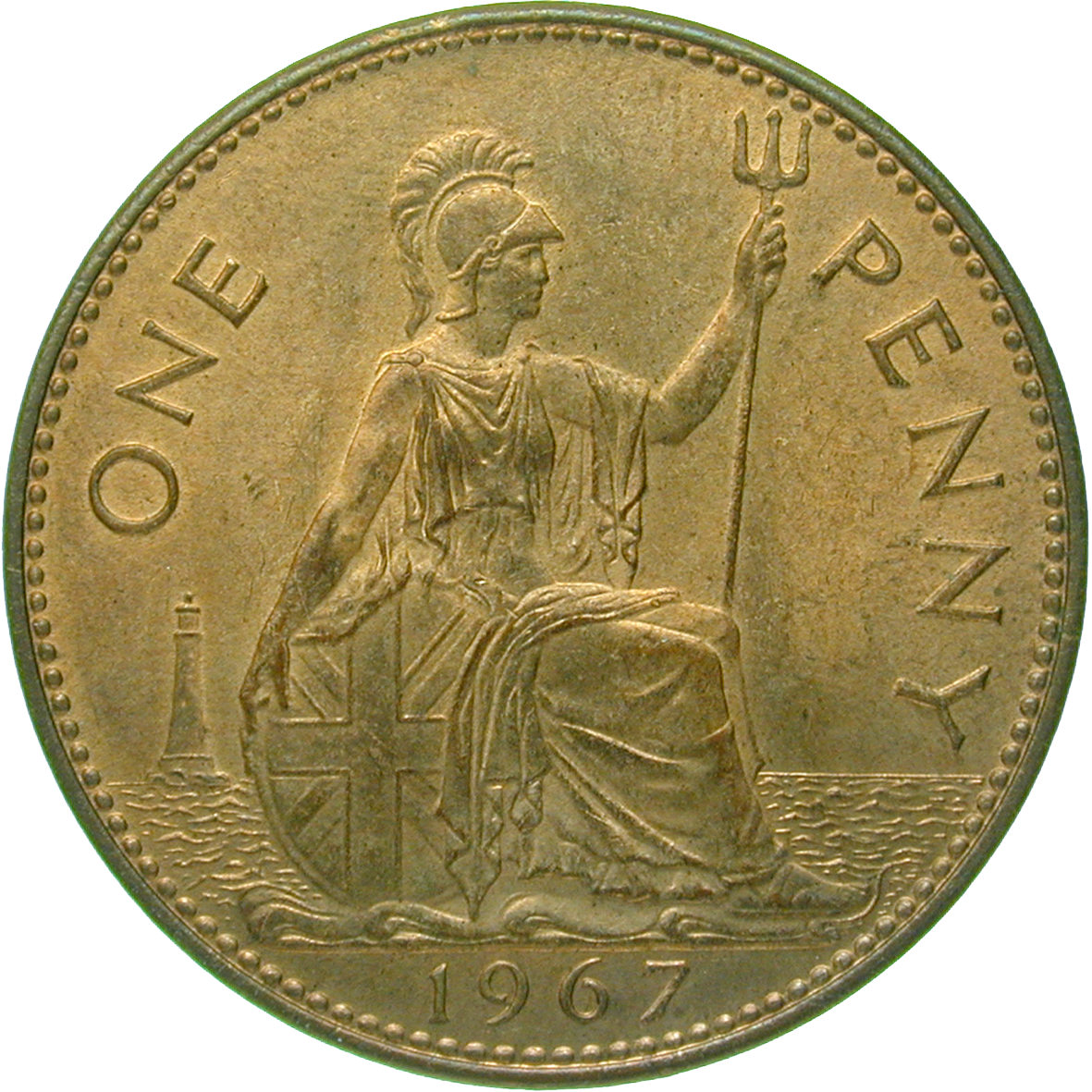 United Kingdom of Great Britain, Elizabeth II, 1 Penny 1967 (reverse)
