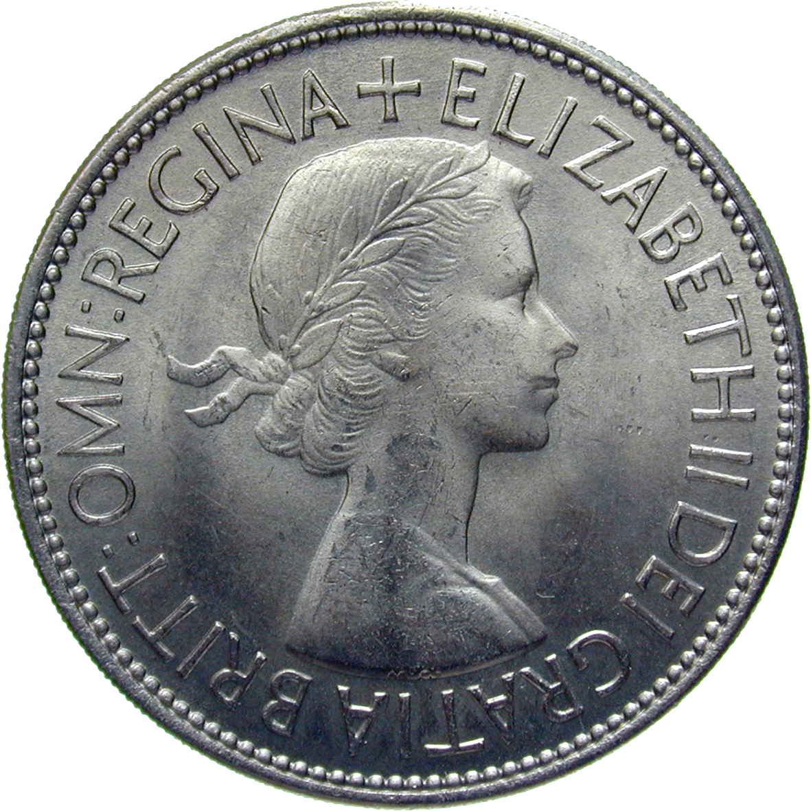 United Kingdom of Great Britain, Elizabeth II, 1/2 Crown 1953 (obverse)
