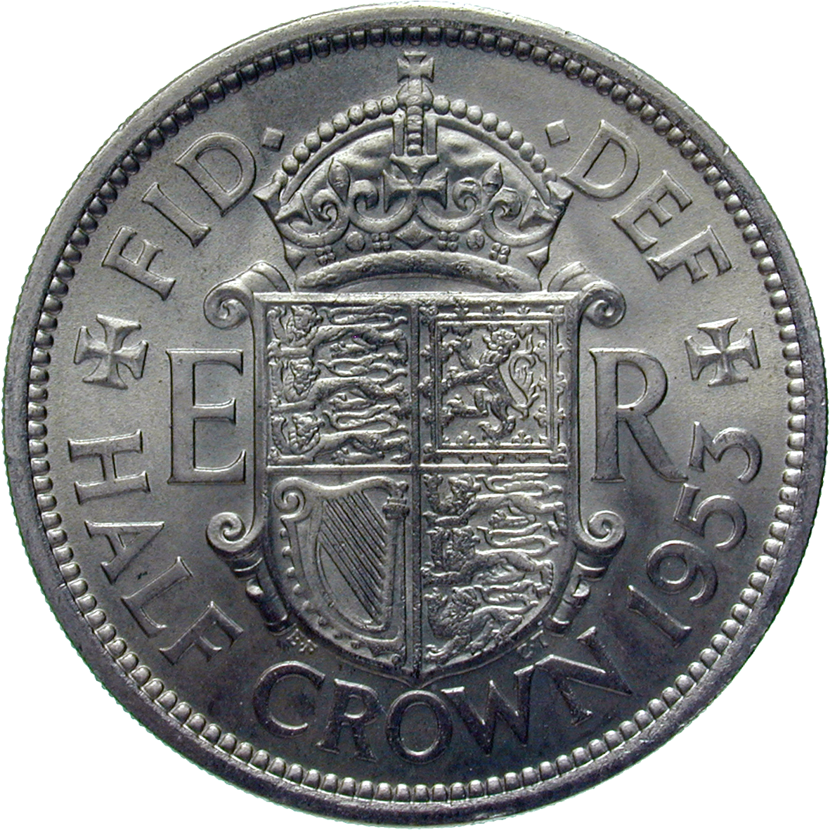 United Kingdom of Great Britain, Elizabeth II, 1/2 Crown 1953 (reverse)