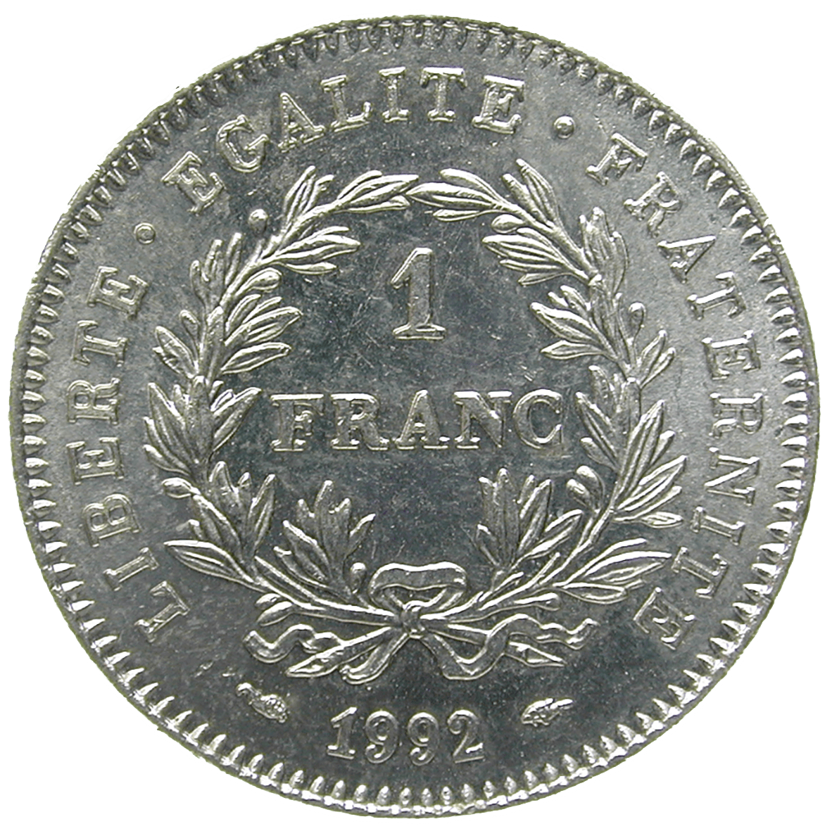 Republic of France, 1 Franc 1992 (reverse)
