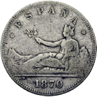 Spain, Provisional Government (1868-1871), 2 Pesetas 1870 (obverse)