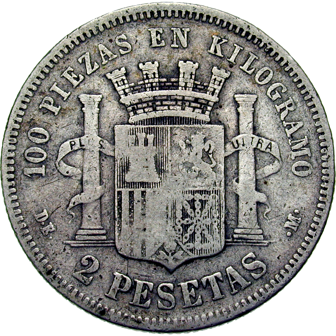Spain, Provisional Government (1868-1871), 2 Pesetas 1870 (reverse)