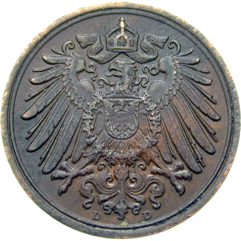 German Empire, Wilhelm II, 1 Pfennig 1915 (reverse)
