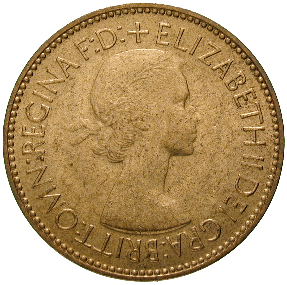 United Kingdom of Great Britain, Elizabeth II, 1/2 Penny 1953 (obverse)