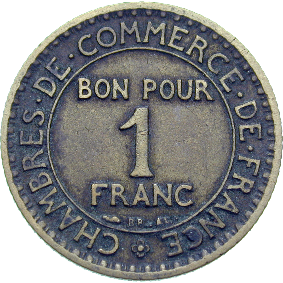 Republic of France, Chambres de Commerce de France, Bon pour 1 Franc 1921 (reverse)
