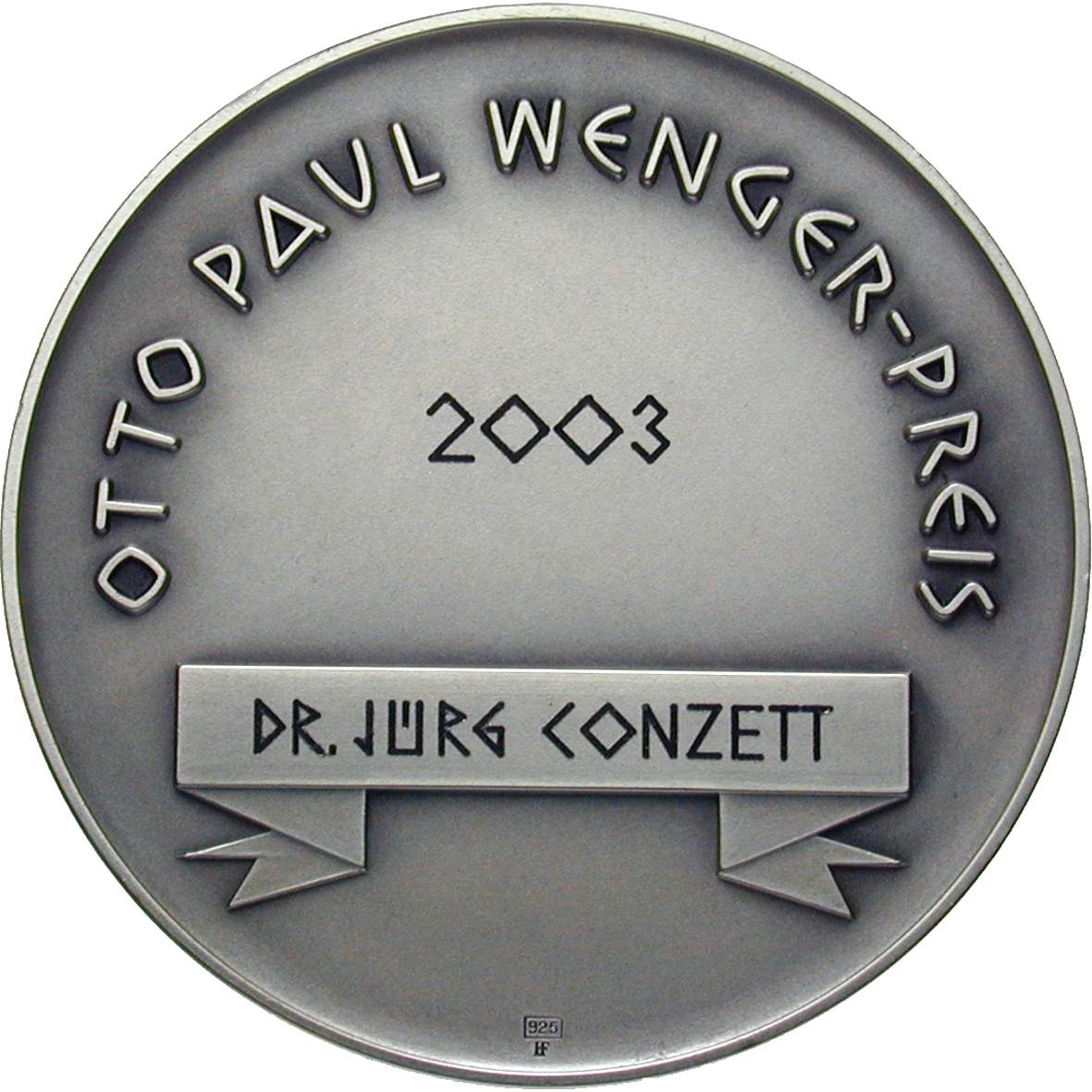 Prize of Otto Paul Wenger 2003, Medal (reverse)