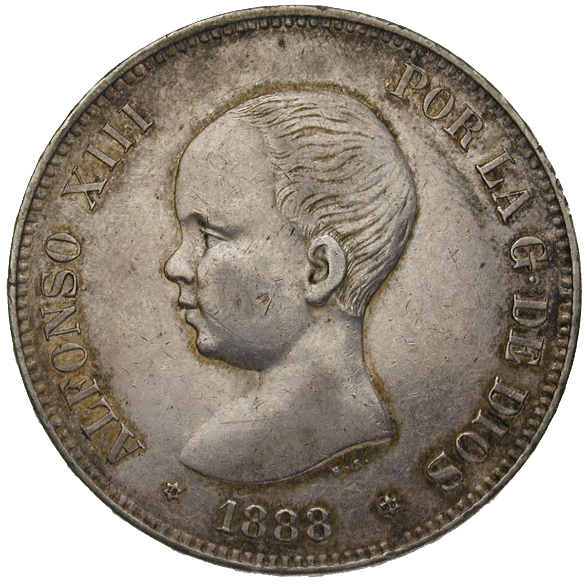 Kingdom of Spain, Alfons XIII , 5 Pesetas 1888 (obverse)