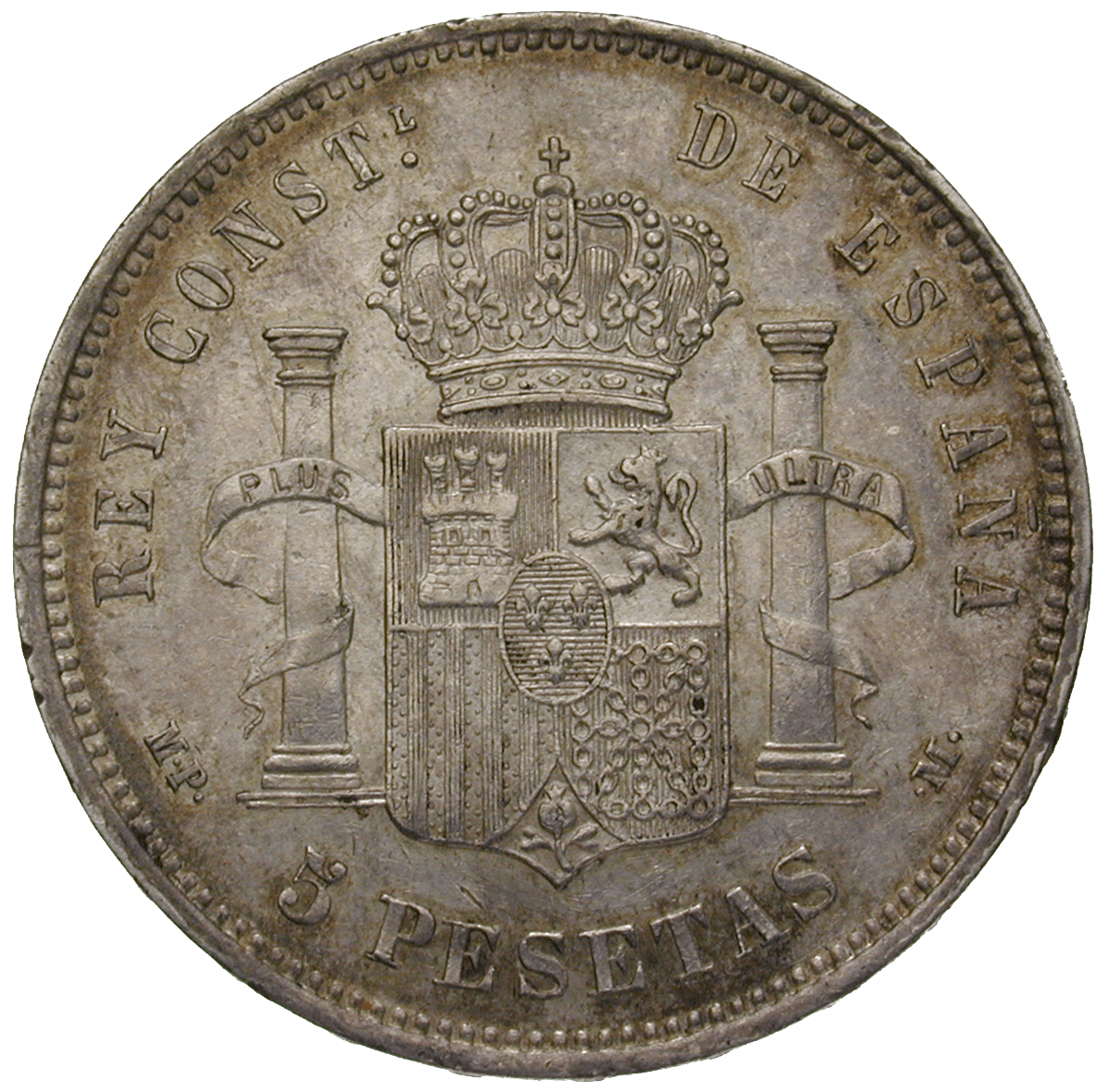 Kingdom of Spain, Alfons XIII , 5 Pesetas 1888 (reverse)