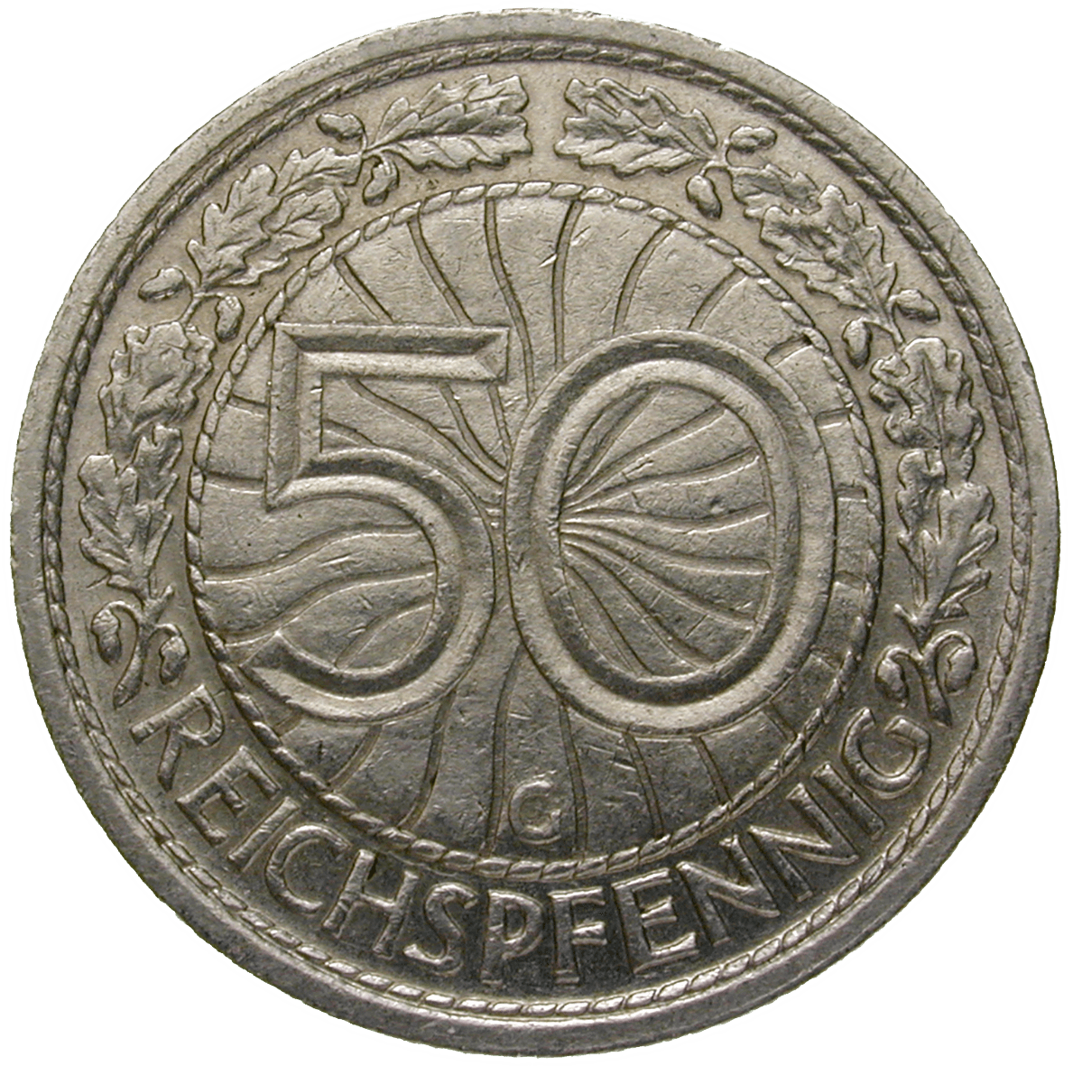 German Empire, Weimar Republic, 50 Reichspfennig 1933 (reverse)