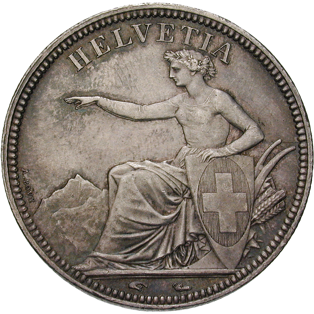 Swiss Confederation, 5 Francs 1850 (obverse)