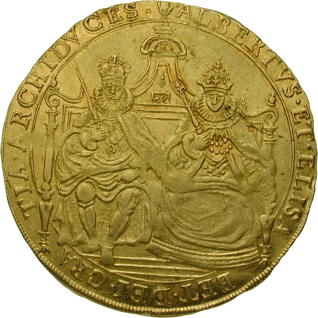 Holy Roman Empire, Kingdom of Belgium, Albert of Austria and Elizabeth of Spain, Double Souverain (obverse)