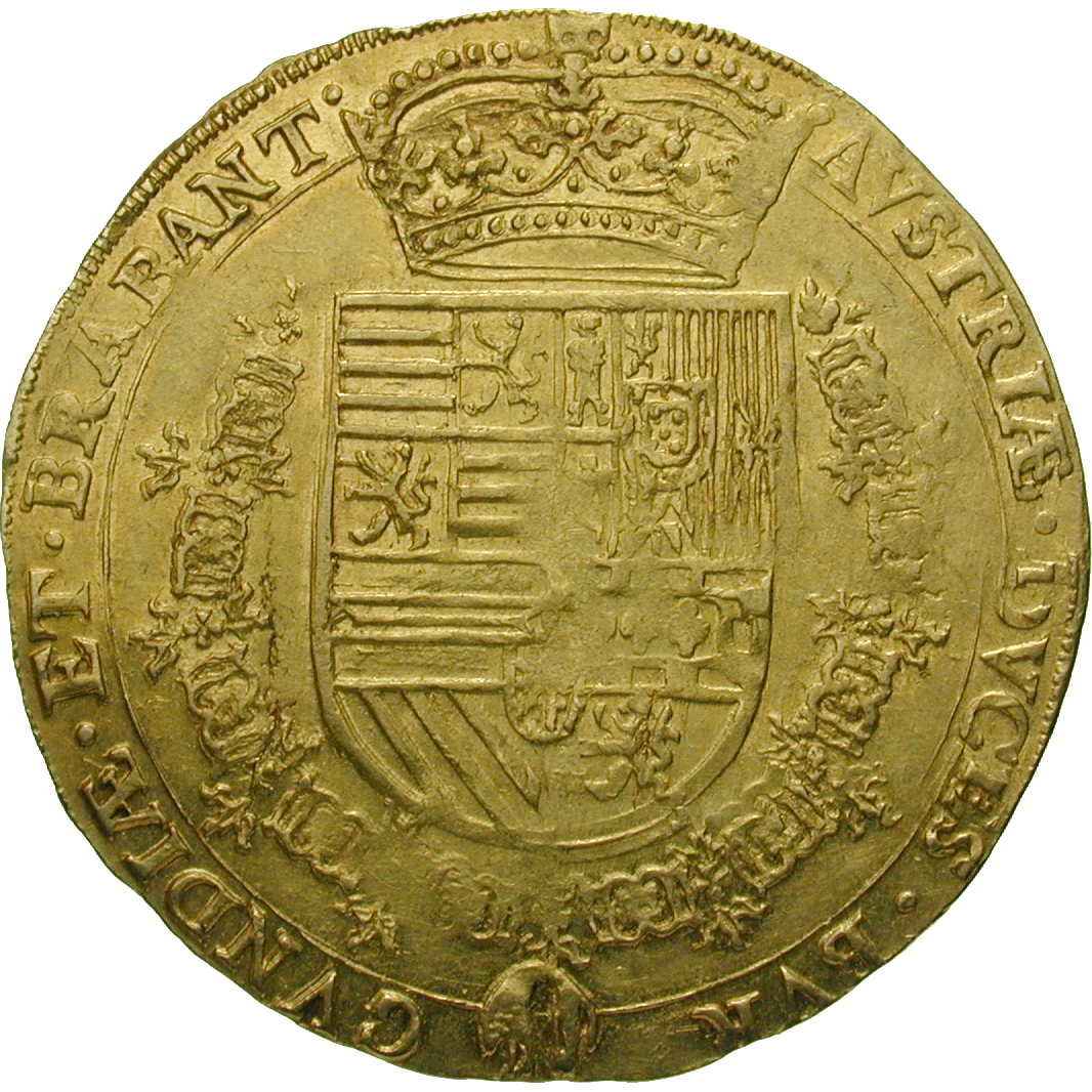 Holy Roman Empire, Kingdom of Belgium, Albert of Austria and Elizabeth of Spain, Double Souverain (reverse)