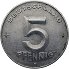 German Democratic Republic, 5 Pfennig 1952 (obverse)
