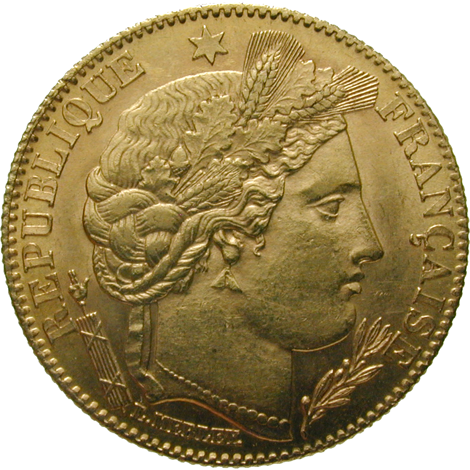 Republic of France, 10 Francs 1899 (obverse)
