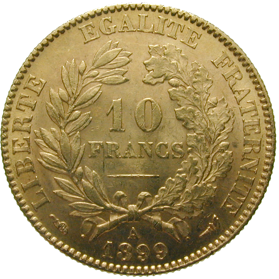 Republic of France, 10 Francs 1899 (reverse)