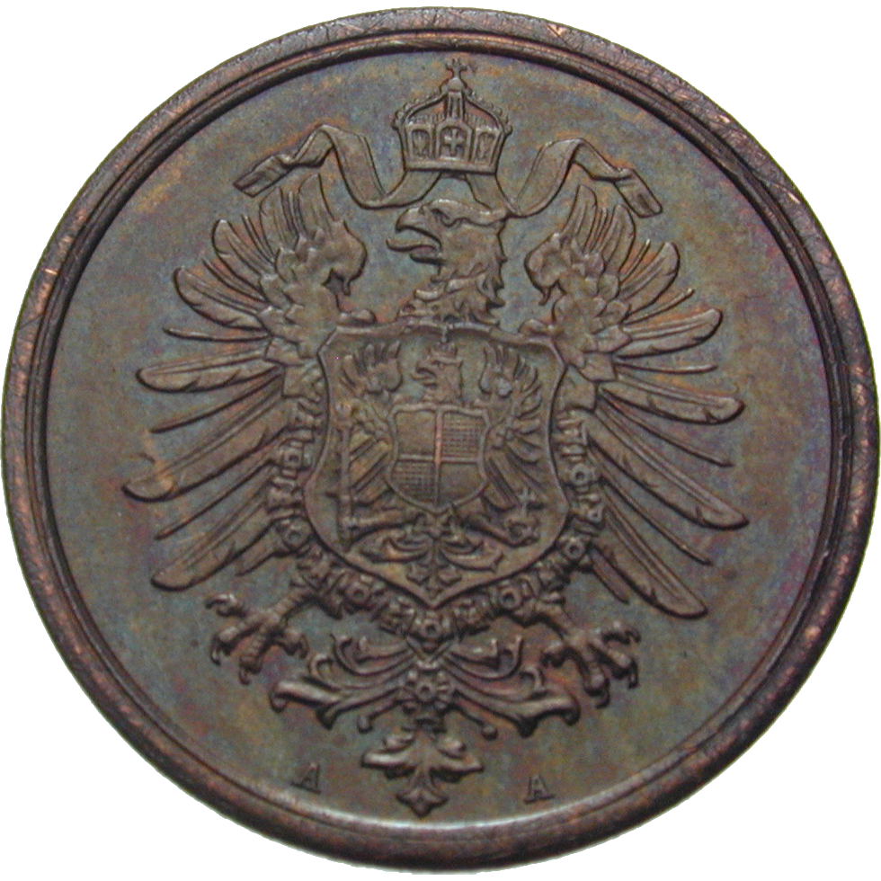 German Empire, Wilhelm I, 2 Pfennig 1873 (reverse)