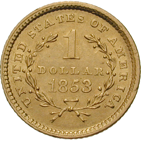 United States of America, 1 Dollar 1853 (reverse)