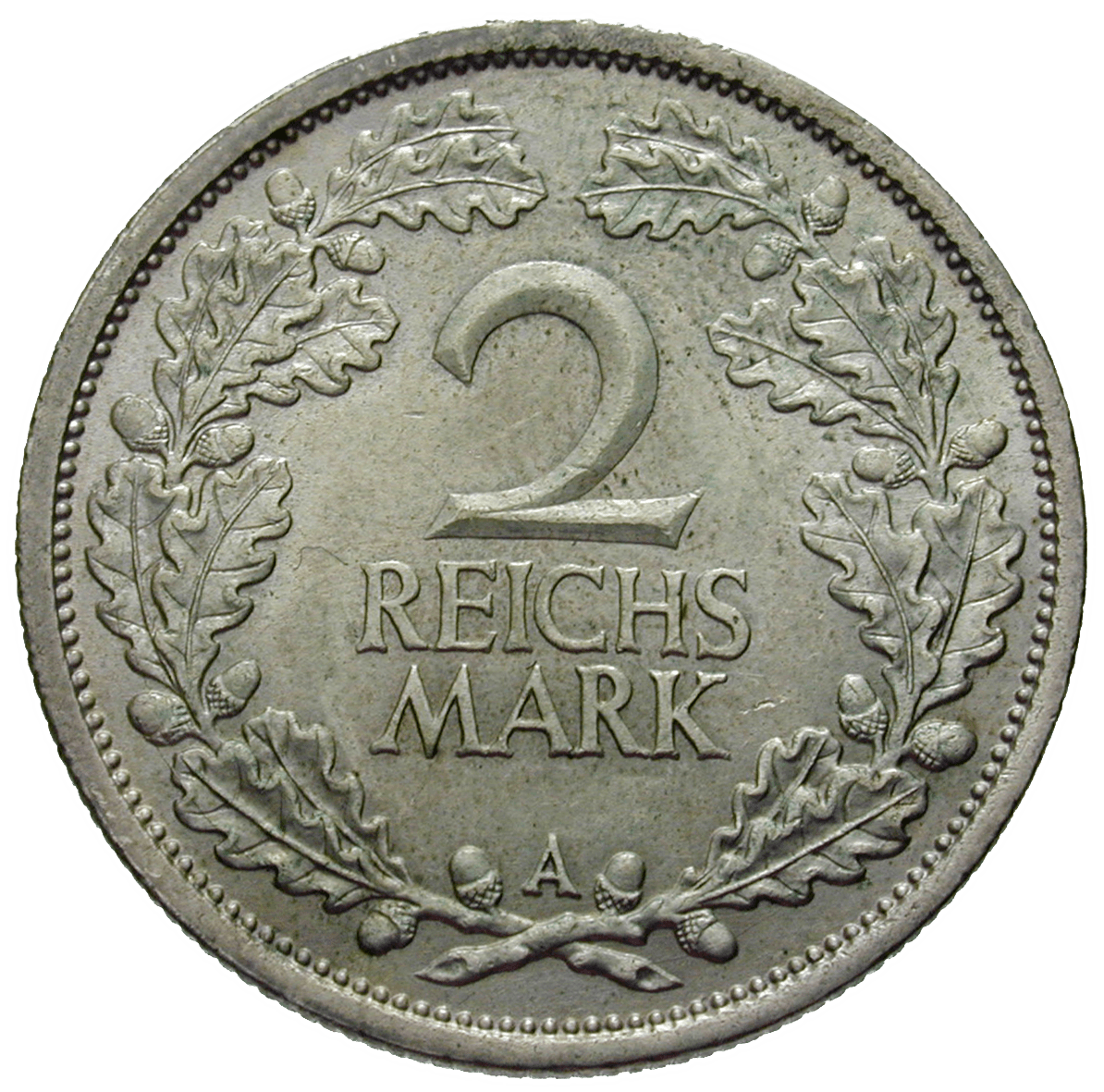 German Empire, Weimar Republic, 2 Reichsmark 1925 (reverse)