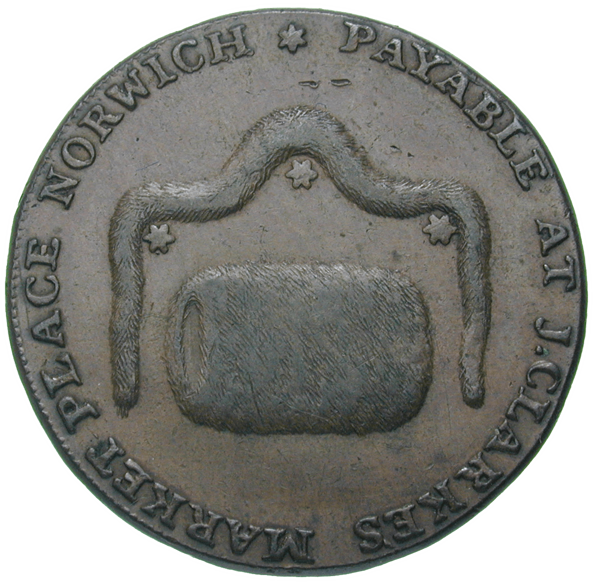 United Kingdom of Great Britain, J. Clarke's Market Place, Token worth 1/2 Penny 1794 (obverse)
