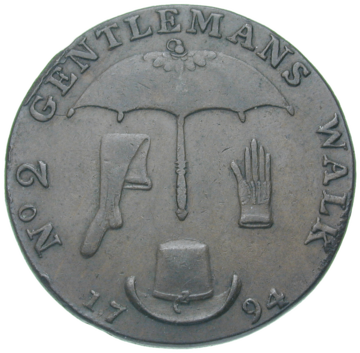 United Kingdom of Great Britain, J. Clarke's Market Place, Token worth 1/2 Penny 1794 (reverse)