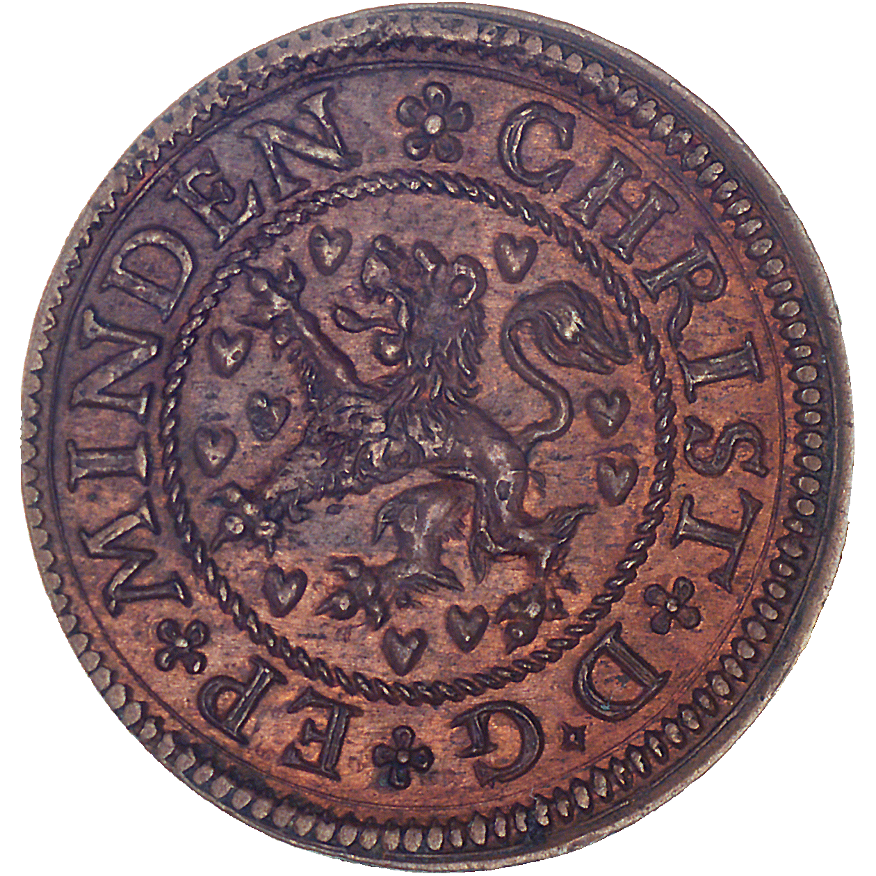Holy Roman Empire, County of Lüneburg, Bishop Christian of Braunschweig-Lüneburg, Kipper-Dreigutepfennig (obverse)