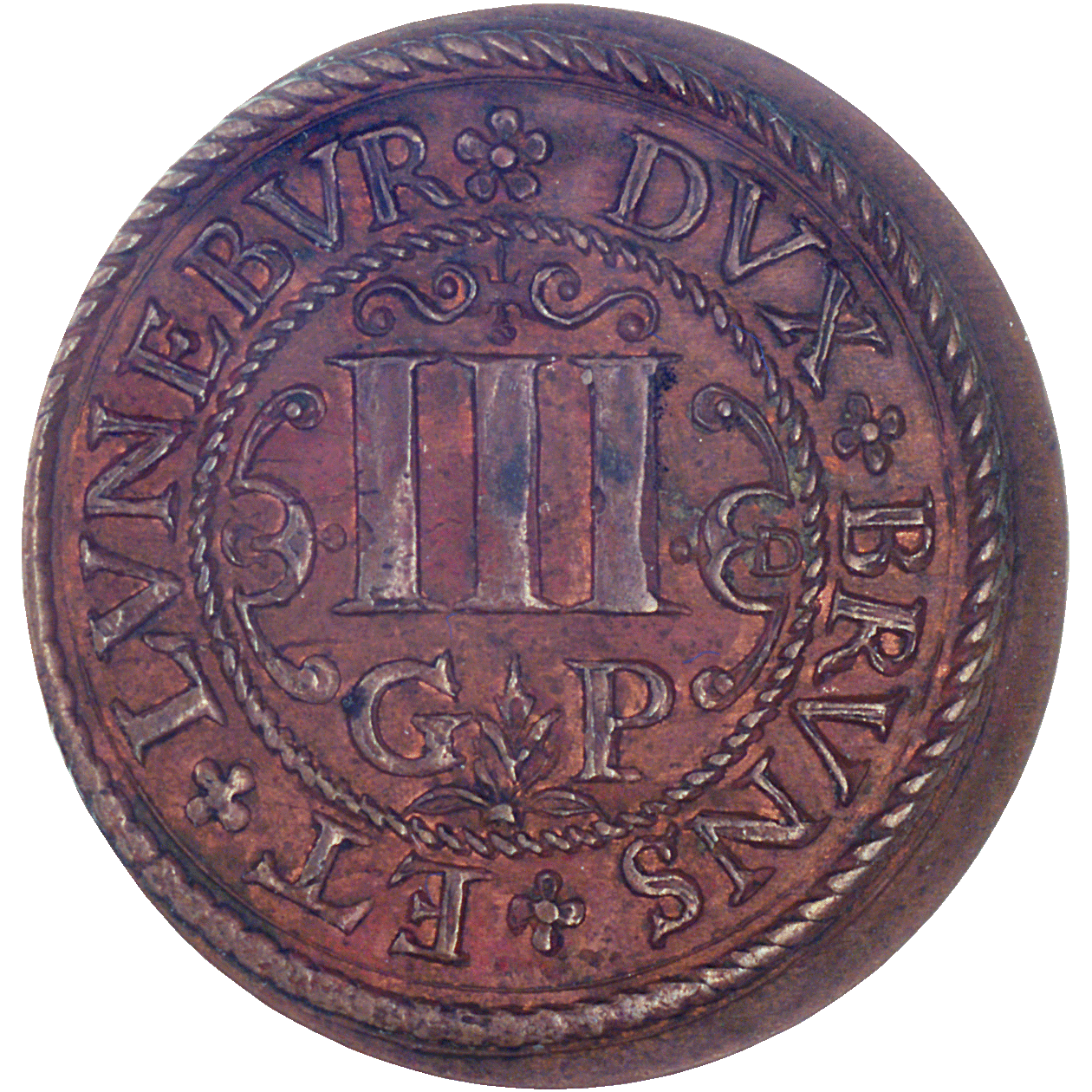 Holy Roman Empire, County of Lüneburg, Bishop Christian of Braunschweig-Lüneburg, Kipper-Dreigutepfennig (reverse)