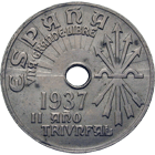 Spain in Civil War, Nationalists under General Franco, 25 Centimos 1937 (obverse)