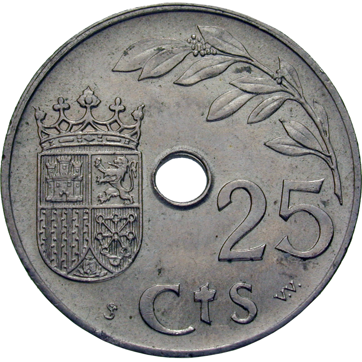 Spain in Civil War, Nationalists under General Franco, 25 Centimos 1937 (reverse)