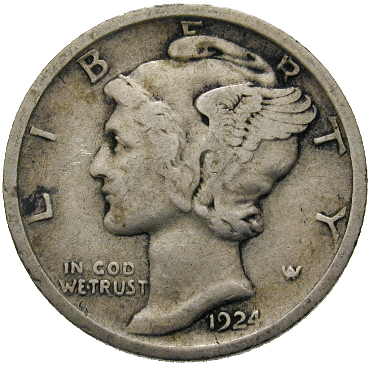 United States of America, 10 Cent 1924 (obverse)