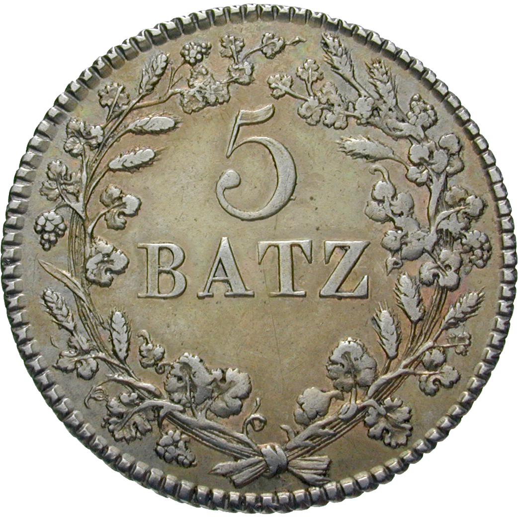 Canton of Vaud, Time of Mediation, 5 Batz 1811 (reverse)
