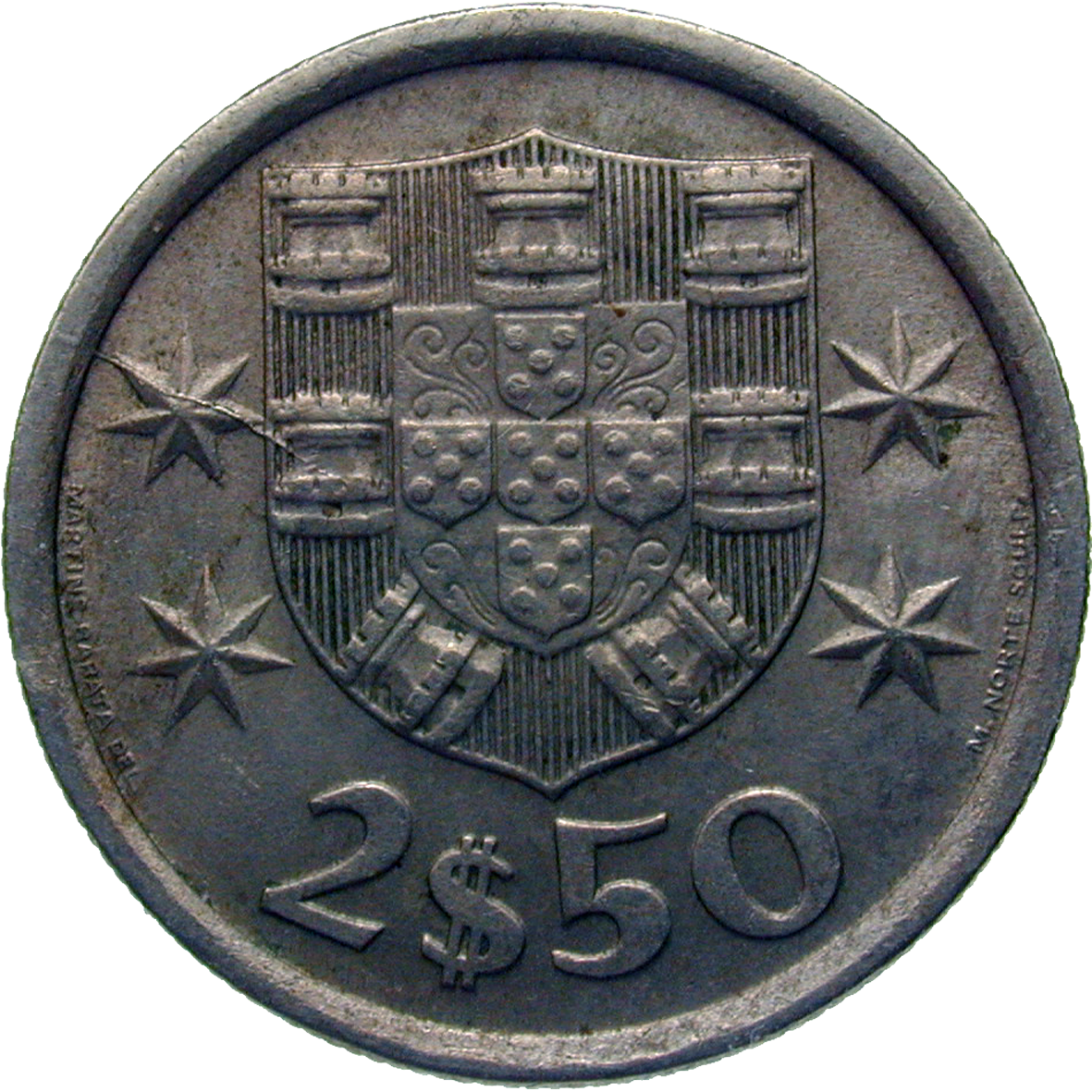 Republic of Portugal, 2,5 Escudos 1973 (reverse)