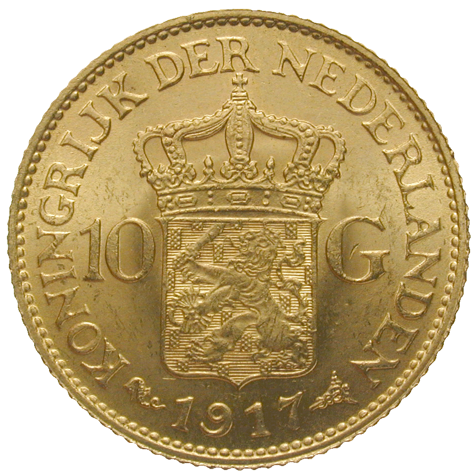 Kingdom of the Netherlands, Wilhelmina, 10 Gulden 1917 (reverse)